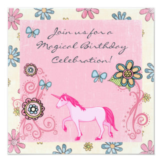 Fantasy Pink Unicorn and Flowers Birthday Invite