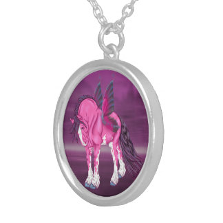 Fantasy Pixie Fairy Clydesdale Horse Silver Plated Necklace