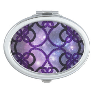 Fantasy Purple Tatting Lace Night Sky Travel Mirror