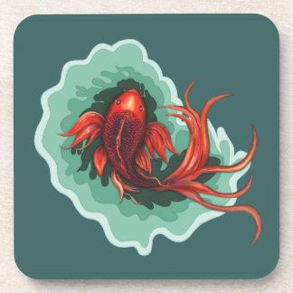 Fantasy Red and Black Koi Fish Coaster
