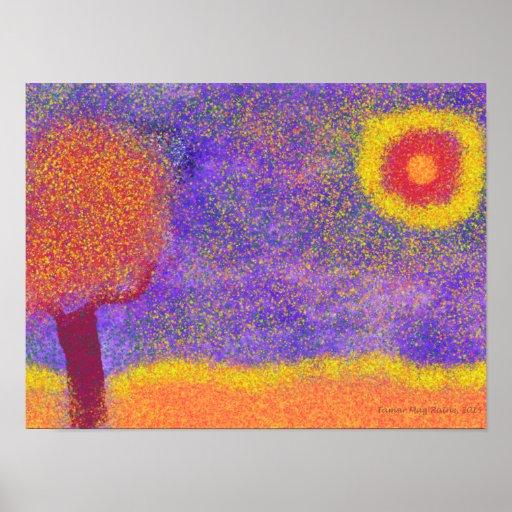 Fantasy Red Tree on Jupiter poster