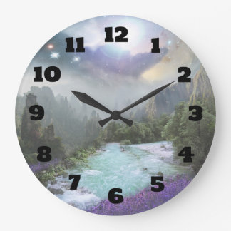 Fantasy Scenic Landscape with Rivers and Mountains Wall Clock