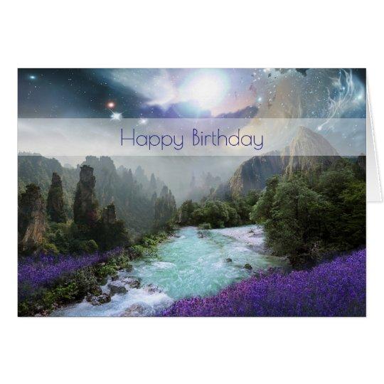 Fantasy Scenic Nature Landscape Happy Birthday Card