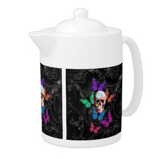Fantasy skull and colored butterflies