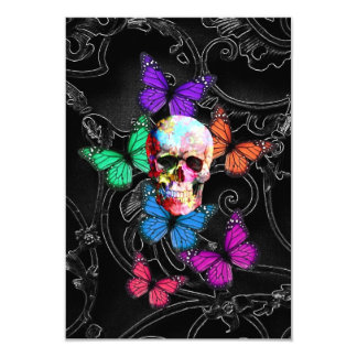 Fantasy skull and colored butterflies 9 cm x 13 cm invitation card