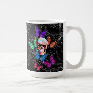 Fantasy skull and colored butterflies basic white mug