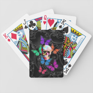 Fantasy skull and colored butterflies bicycle playing cards