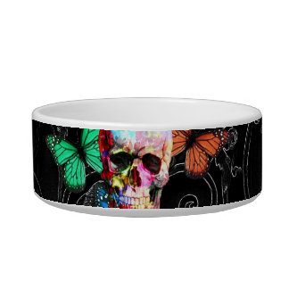 Fantasy skull and colored butterflies bowl