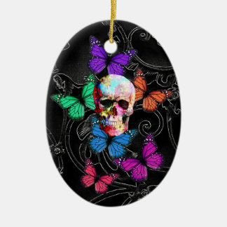 Fantasy skull and colored butterflies christmas ornament