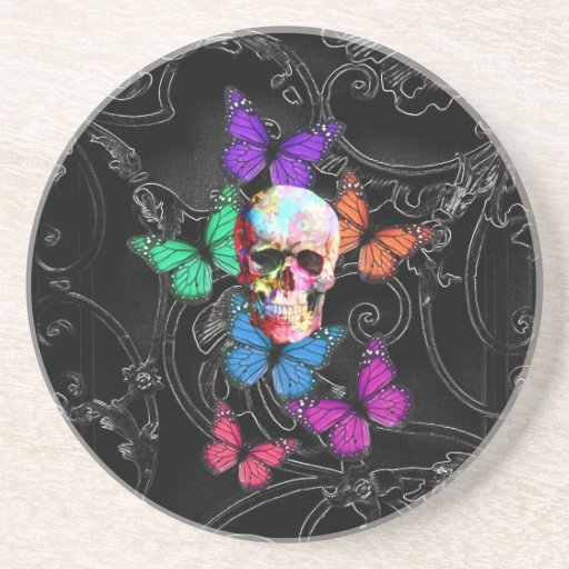 Fantasy skull and colored butterflies drink coasters
