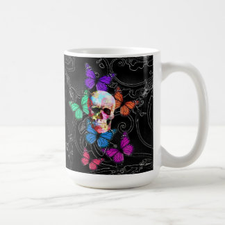 Fantasy skull and colored butterflies coffee mug