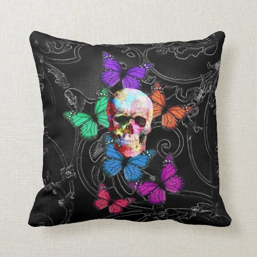 Fantasy skull and colored butterflies pillows
