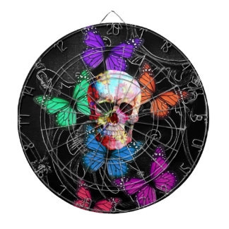 Fantasy skull and colored butterflies dartboard