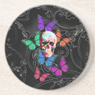 Fantasy skull and colored butterflies drink coaster