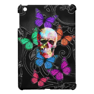 Fantasy skull and colored butterflies iPad mini case