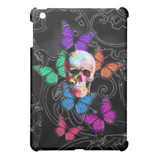 Fantasy skull and colored butterflies iPad mini cover