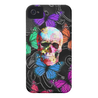 Fantasy skull and colored butterflies iPhone 4 cover