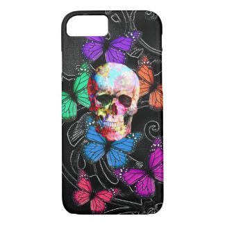 Fantasy skull and colored butterflies iPhone 8/7 case