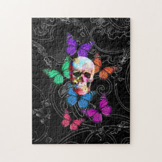 Fantasy skull and colored butterflies jigsaw puzzle