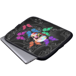 Fantasy skull and colored butterflies laptop sleeve