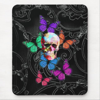 Fantasy skull and colored butterflies mouse mat