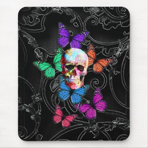 Fantasy skull and colored butterflies mouse pad