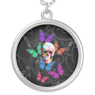 Fantasy skull and colored butterflies custom jewelry