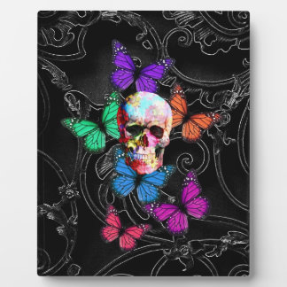 Fantasy skull and colored butterflies plaque