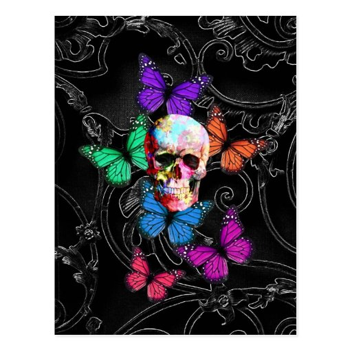 Fantasy skull and colored butterflies postcards