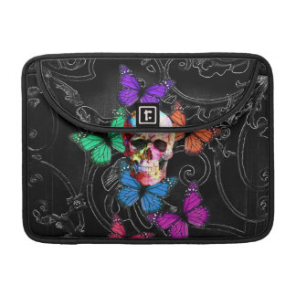 Fantasy skull and colored butterflies sleeve for MacBook pro