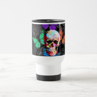 Fantasy skull and colored butterflies travel mug