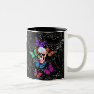 Fantasy skull and colored butterflies Two-Tone coffee mug