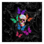 Fantasy skull and coloured butterflies