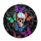 Fantasy skull and coloured butterflies dartboard
