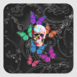Fantasy skull and coloured butterflies square sticker