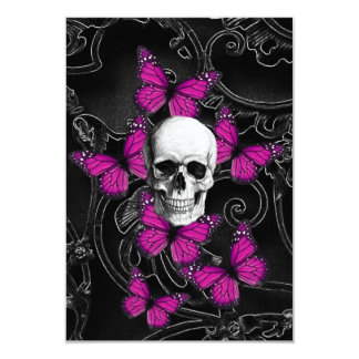 Fantasy skull and hot pink butterflies 9 cm x 13 cm invitation card