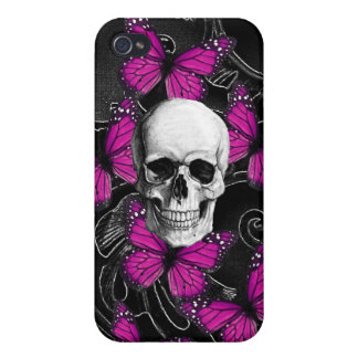 Fantasy skull and hot pink butterflies case for iPhone 4
