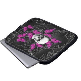 Fantasy skull and hot pink butterflies computer sleeves