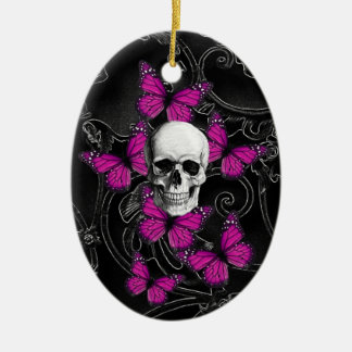 Fantasy skull and hot pink butterflies ornaments