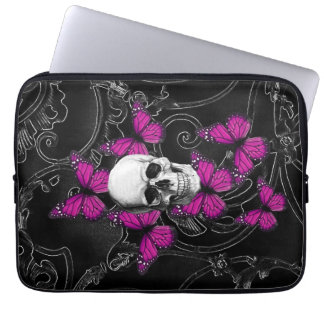 Fantasy skull and hot pink butterflies laptop sleeve