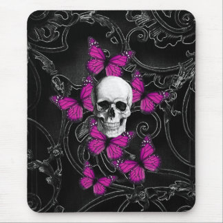 Fantasy skull and hot pink butterflies mouse mat