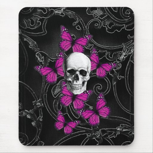 Fantasy skull and hot pink butterflies mouse pads