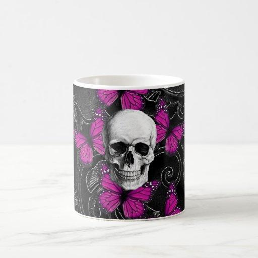 Fantasy skull and hot pink butterflies mugs