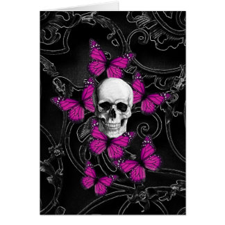 Fantasy skull and hot pink butterflies note card