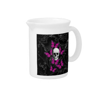 Fantasy skull and hot pink butterflies pitcher