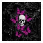 Fantasy skull and hot pink butterflies poster