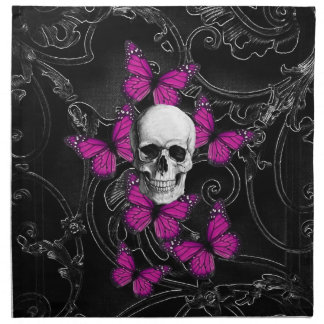 Fantasy skull and hot pink butterflies printed napkin