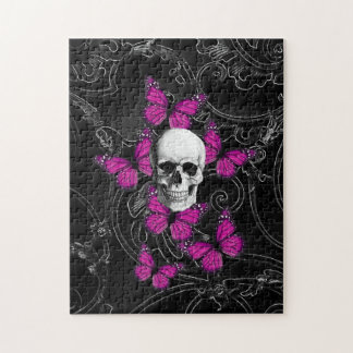 Fantasy skull and hot pink butterflies puzzles