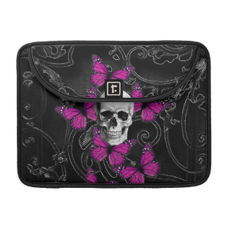 Fantasy skull and hot pink butterflies sleeve for MacBook pro