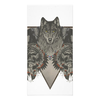 Fantasy Skull Wolf and Indian Photo Greeting Card
